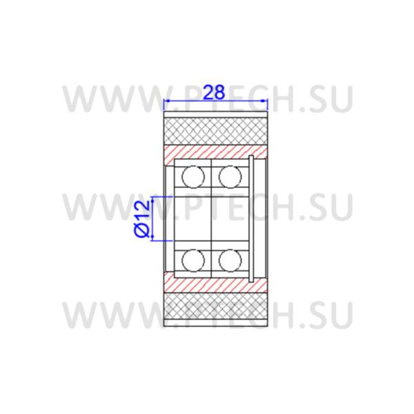 Ролик прижимной зубчатый 58x12x28 - ПРОМТЕХКОМПЛЕКТ