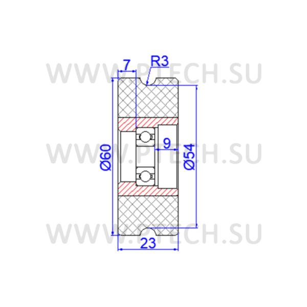 Ролик прижимной обрезиненный 60x8x23 - ПРОМТЕХКОМПЛЕКТ