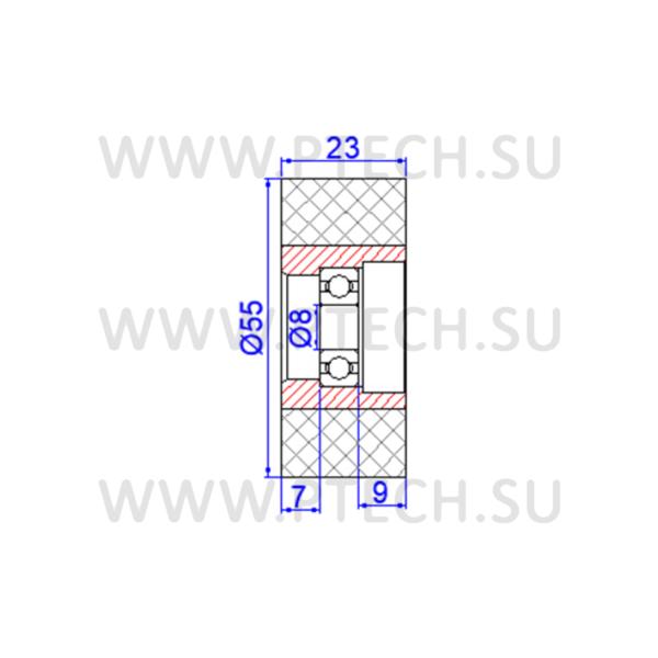 Ролик прижимной обрезиненный 55x8x23 - ПРОМТЕХКОМПЛЕКТ