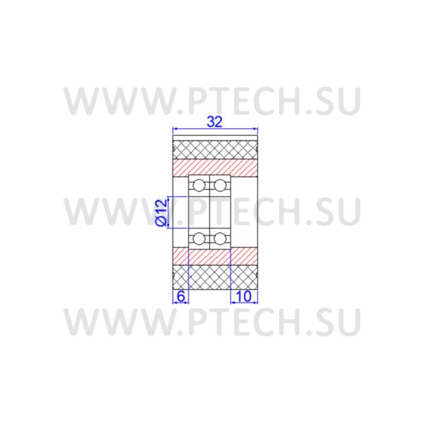 Ролик прижимной зубчатый 58x12x32 - ПРОМТЕХКОМПЛЕКТ