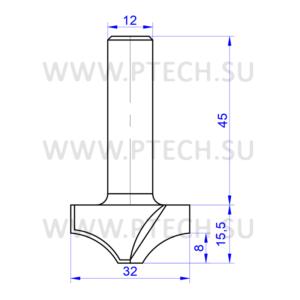 Концевая фреза 637 твердосплавного типа филенка для ЧПУ станка для обработки фасада из материала МДФ - ПРОМТЕХКОМПЛЕКТ