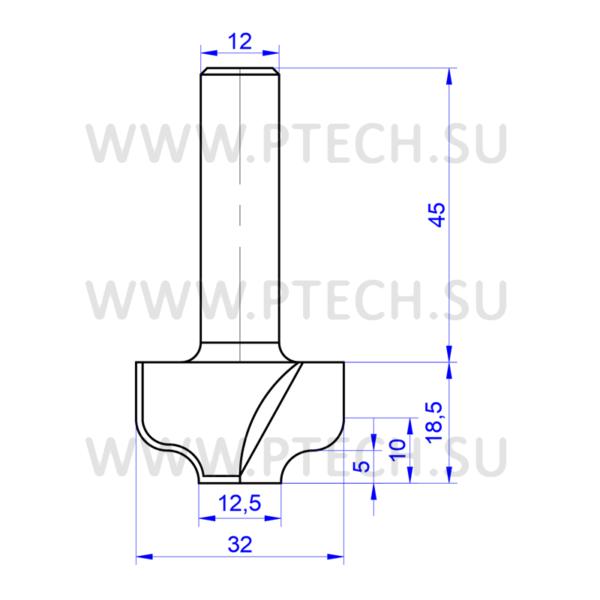 Концевая фреза 716 твердосплавного типа филенка для ЧПУ станка для обработки фасада из материала МДФ - ПРОМТЕХКОМПЛЕКТ