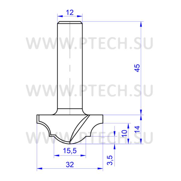 Концевая фреза 737 твердосплавного типа филенка для ЧПУ станка для обработки фасада из материала МДФ - ПРОМТЕХКОМПЛЕКТ