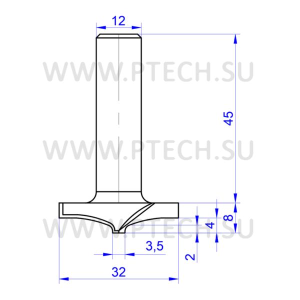 Концевая фреза твердосплавного типа 4925 филенка для ЧПУ станка для обработки фасада из материала МДФ - ПРОМТЕХКОМПЛЕКТ