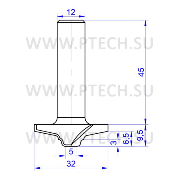 Концевая фреза твердосплавного типа 853 филенка для ЧПУ станка для обработки фасада из материала МДФ - ПРОМТЕХКОМПЛЕКТ