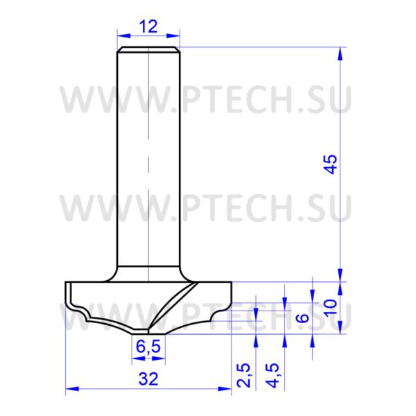 Концевая фреза 894 твердосплавного типа филенка для ЧПУ станка для обработки фасада из материала МДФ - ПРОМТЕХКОМПЛЕКТ