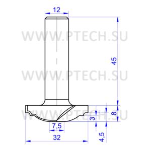 Концевая фреза 945 твердосплавного типа филенка для ЧПУ станка для обработки фасада из материала МДФ - ПРОМТЕХКОМПЛЕКТ