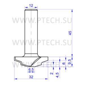 Концевая фреза 962 твердосплавного типа филенка для ЧПУ станка для обработки фасада из материала МДФ - ПРОМТЕХКОМПЛЕКТ