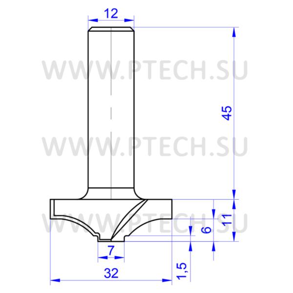 Концевая фреза профильная 965 твердосплавного типа профильная для ЧПУ станка для обработки фасада из материала МДФ - ПРОМТЕХКОМПЛЕКТ