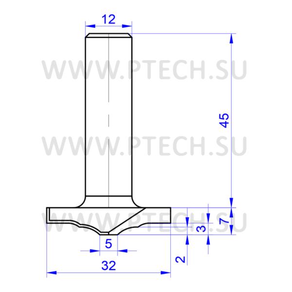 Концевая фреза твердосплавного типа филенка для ЧПУ станка для обработки фасада из материала МДФ 2351 - ПРОМТЕХКОМПЛЕКТ