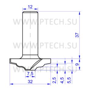 Концевая фреза 2382 твердосплавного типа филенка для ЧПУ станка для обработки фасада из материала МДФ - ПРОМТЕХКОМПЛЕКТ