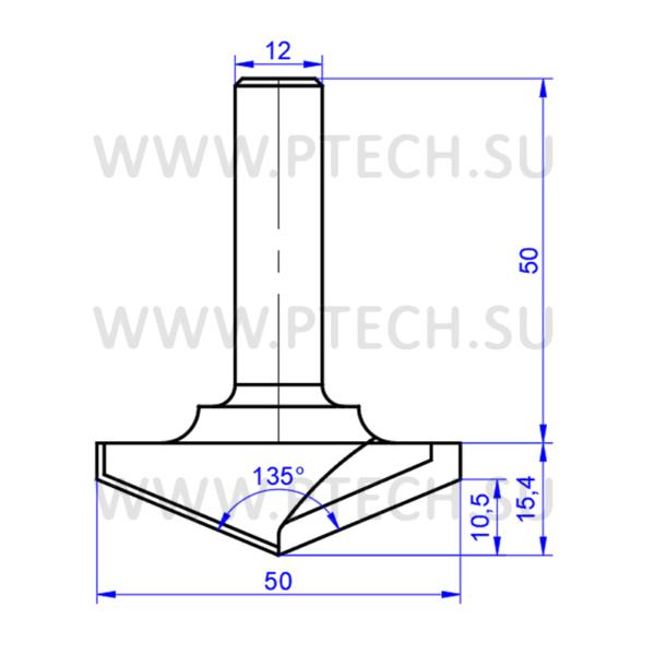 Фреза алмазная концевая с углом 135 градусов V-135-50 - ПРОМТЕХКОМПЛЕКТ