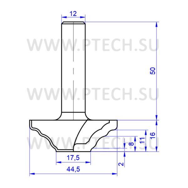 Концевая фреза алмазного типа филенка для ЧПУ станка для обработки фасада из материала МДФ 0484 - ПРОМТЕХКОМПЛЕКТ