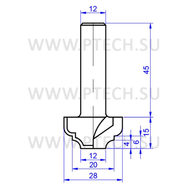 Концевая фреза алмазной разновидности филенка для станка с чпу для работы с фасадами из мдф 0690-12 - ПРОМТЕХКОМПЛЕКТ