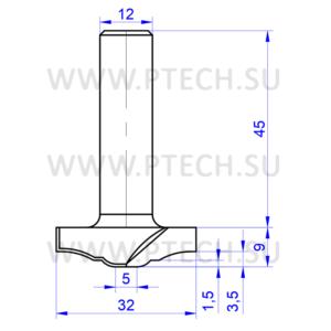 Концевая фреза твердосплавного типа филенка для ЧПУ станка для обработки фасада из материала МДФ 7730 - ПРОМТЕХКОМПЛЕКТ