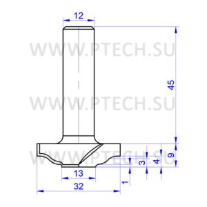 Концевая фреза твердосплавного типа филенка для ЧПУ станка для обработки фасада из материала МДФ 7765 - ПРОМТЕХКОМПЛЕКТ