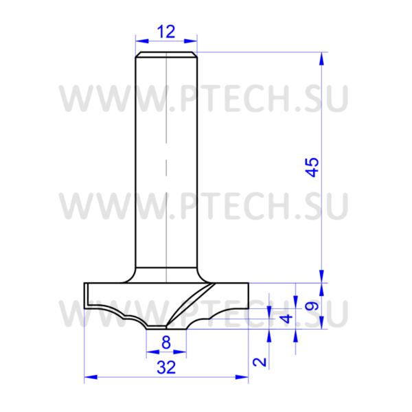 Концевая фреза 7825 твердосплавного типа филенка для ЧПУ станка для обработки фасада из материала МДФ - ПРОМТЕХКОМПЛЕКТ