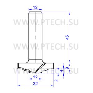 Концевая фреза 7865 твердосплавного типа филенка для ЧПУ станка для обработки фасада из материала МДФ - ПРОМТЕХКОМПЛЕКТ