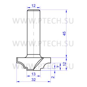 Концевая фреза 7870 твердосплавного типа филенка для ЧПУ станка для обработки фасада из материала МДФ - ПРОМТЕХКОМПЛЕКТ