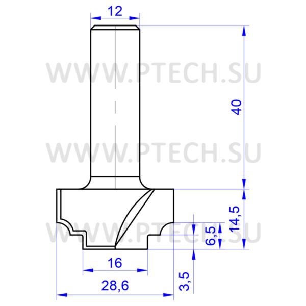 Концевая фреза 645 твердосплавного типа профильная для ЧПУ станка для обработки фасада из материала МДФ - ПРОМТЕХКОМПЛЕКТ