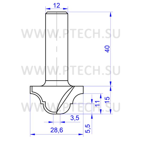 Концевая фреза 672 твердосплавного типа филенка для ЧПУ станка для обработки фасада из материала МДФ - ПРОМТЕХКОМПЛЕКТ