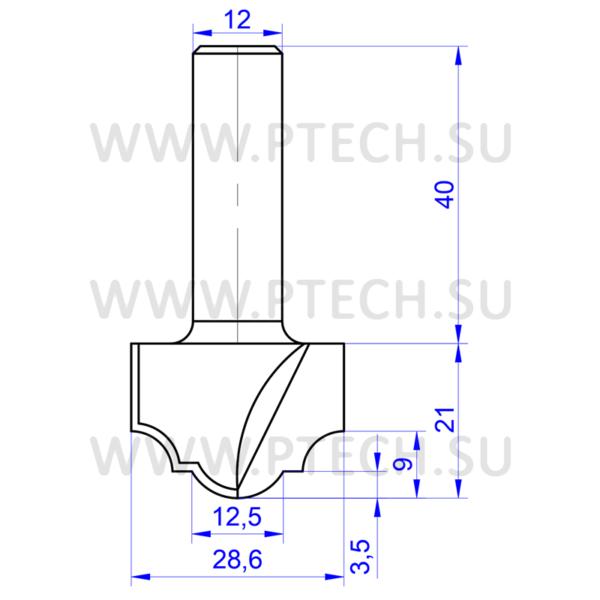Концевая фреза 707 твердосплавного типа филенка для ЧПУ станка для обработки фасада из материала МДФ - ПРОМТЕХКОМПЛЕКТ