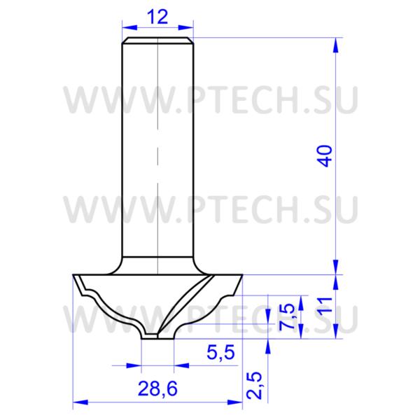 Концевая фреза 719 твердосплавного типа филенка для ЧПУ станка для обработки фасада из материала МДФ - ПРОМТЕХКОМПЛЕКТ