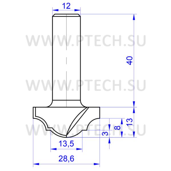 Концевая фреза твердосплавного типа филенка для ЧПУ станка для обработки фасада из материала МДФ 736 - ПРОМТЕХКОМПЛЕКТ