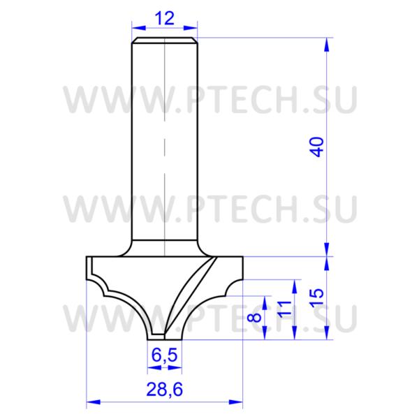 Концевая фреза 774 твердосплавного типа филенка для ЧПУ станка для обработки фасада из материала МДФ - ПРОМТЕХКОМПЛЕКТ