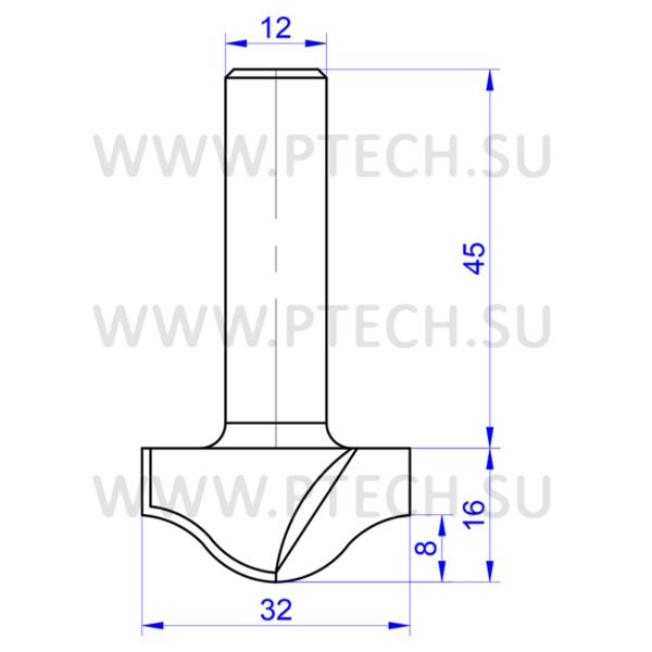 Концевая фреза филенка 784 твердосплавного типа для ЧПУ станка для обработки фасада из материала МДФ - ПРОМТЕХКОМПЛЕКТ