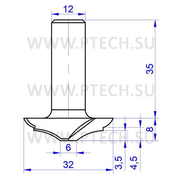 Концевая профильная фреза 838 для мебельных фасадов - ПРОМТЕХКОМПЛЕКТ
