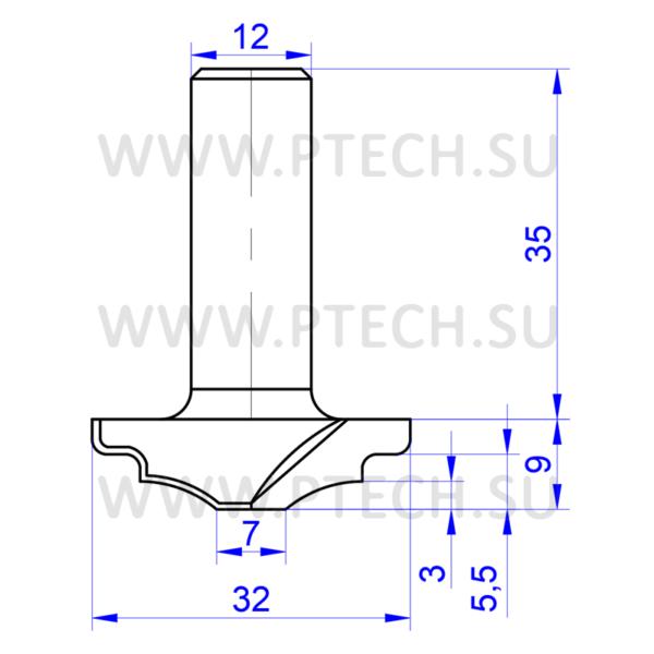 Концевая профильная фреза 846 для мебельных фасадов - ПРОМТЕХКОМПЛЕКТ
