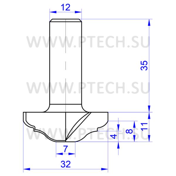 Фреза концевая ТСТ профильная 856 для ЧПУ - ПРОМТЕХКОМПЛЕКТ