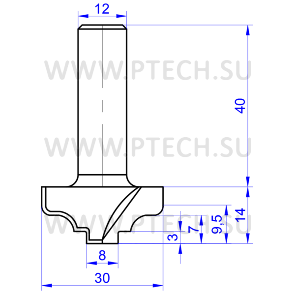 Концевая фреза 2283 твердосплавного типа филенка для ЧПУ станка для обработки фасада из материала МДФ - ПРОМТЕХКОМПЛЕКТ