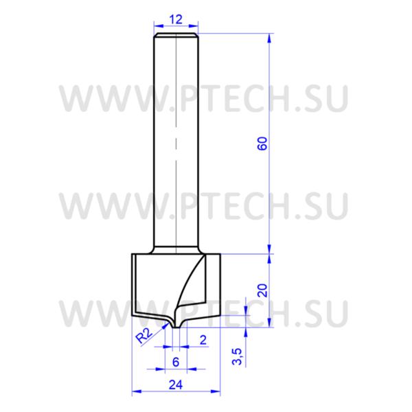 Концевая фреза филенка 4895 твердосплавного типа для ЧПУ станка для обработки фасада из материала МДФ - ПРОМТЕХКОМПЛЕКТ