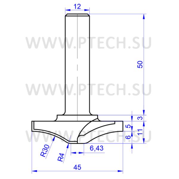 Концевая фреза филенка 4915 твердосплавного типа для ЧПУ станка для обработки фасада из материала МДФ - ПРОМТЕХКОМПЛЕКТ