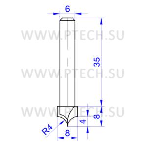 Фреза 4695 калевочная кромочная для фрезера ручного или станка с чпу - ПРОМТЕХКОМПЛЕКТ