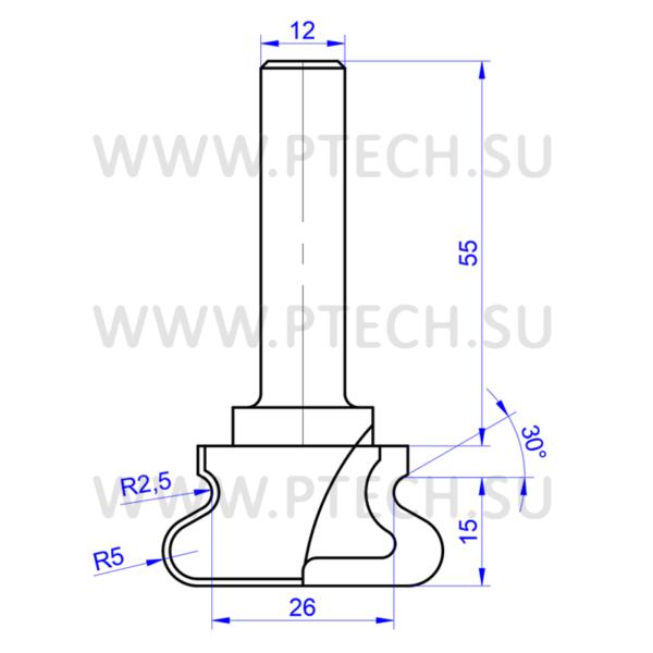 Фреза профильная для ручек интегрированных в мебель 7115 - ПРОМТЕХКОМПЛЕКТ