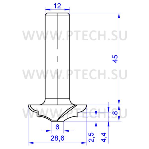 Концевая профильная фреза 7890 для мебельных фасадов - ПРОМТЕХКОМПЛЕКТ