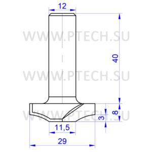 Концевая фреза твердосплавного типа филенка для ЧПУ станка для обработки фасада из материала МДФ 11216 - ПРОМТЕХКОМПЛЕКТ