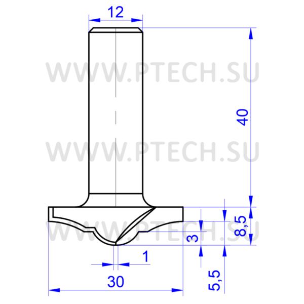 Концевая фреза 11685 твердосплавного типа филенка для ЧПУ станка для обработки фасада из материала МДФ - ПРОМТЕХКОМПЛЕКТ