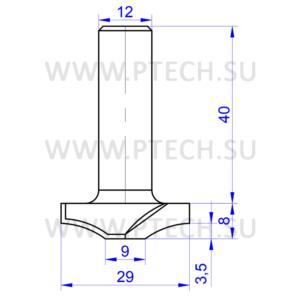 Концевая фреза твердосплавного типа филенка для ЧПУ станка для обработки фасада из материала МДФ 11763 - ПРОМТЕХКОМПЛЕКТ
