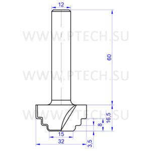 Концевая фреза 10298 твердосплавного типа филенка для ЧПУ станка для обработки фасада из материала МДФ - ПРОМТЕХКОМПЛЕКТ