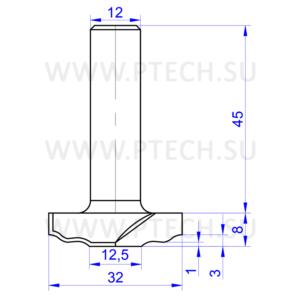 Концевая фреза твердосплавного типа профильная для ЧПУ станка для обработки фасада из материала МДФ 10541 - ПРОМТЕХКОМПЛЕКТ
