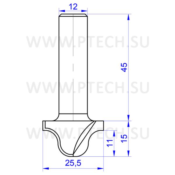 Концевая фреза твердосплавного типа филенка для ЧПУ станка для обработки фасада из материала МДФ 7910 - ПРОМТЕХКОМПЛЕКТ