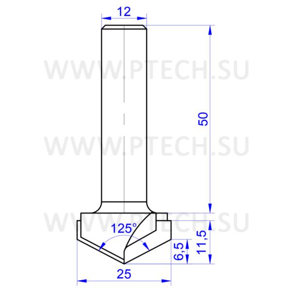 Алмазная фреза V-125-25 (по композитным материалам, дереву, МДФ, ЛДСП, пластику) c углом 125º (для ручного фрезера и ЧПУ станков) - ПРОМТЕХКОМПЛЕКТ