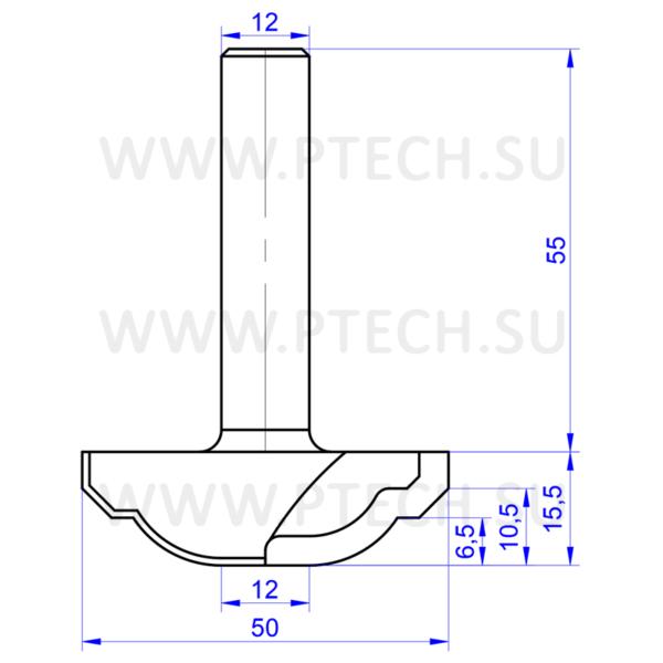 Концевая фреза 13515 твердосплавного типа филенка для ЧПУ станка для обработки фасада из материала МДФ - ПРОМТЕХКОМПЛЕКТ