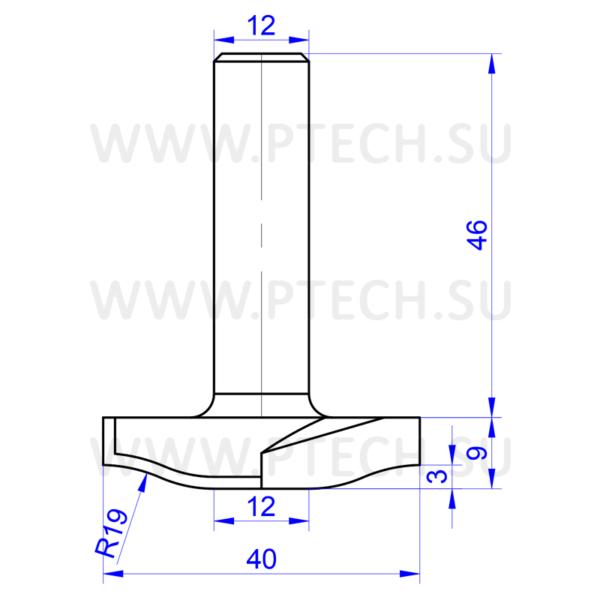 Алмазная фреза концевой разновидности для станка с ЧПУ для обработки фасадов из МДФ 13530 - ПРОМТЕХКОМПЛЕКТ