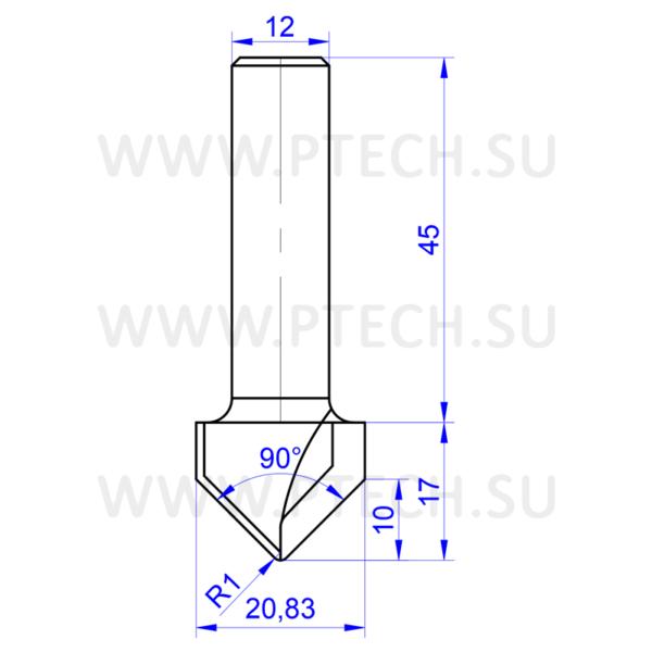 Алмазная фреза концевая 13540 разновидности (V-образная филенка) для станков с ЧПУ для работы с фасадами из МДФ - ПРОМТЕХКОМПЛЕКТ