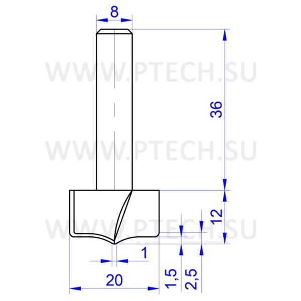 Концевая фреза твердосплавного типа филенка для ЧПУ станка для обработки фасада из материала МДФ 13595 - ПРОМТЕХКОМПЛЕКТ